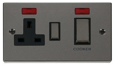 Black Nickel Cooker Control Ingot 45A With 13A Switched Plug Socket & 2 Neons - Black Trim