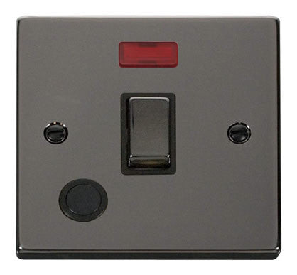 Black Nickel 1 Gang 20A Ingot DP Switch With Flex With Neon - Black