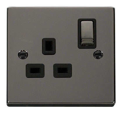 Black Nickel 1 Gang 13A DP Ingot Switched Socket - Black