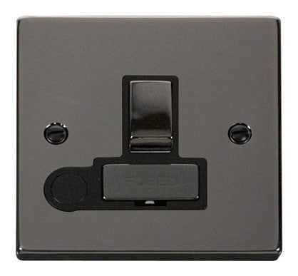 Black Nickel 13A Fused Ingot Connection Unit Switched With Flex - Black Trim