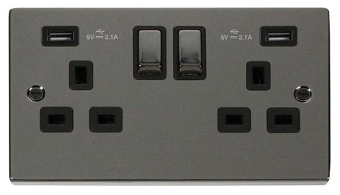 Black Nickel 2 Gang 13A DP Ingot 2 USB Twin Double Switched Plug Socket - Black Trim
