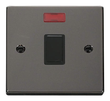 Black Nickel 1 Gang 20A DP Switch With Neon - Black Trim