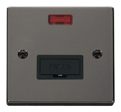 Black Nickel 13A Fused Connection Unit With Neon - Black Trim