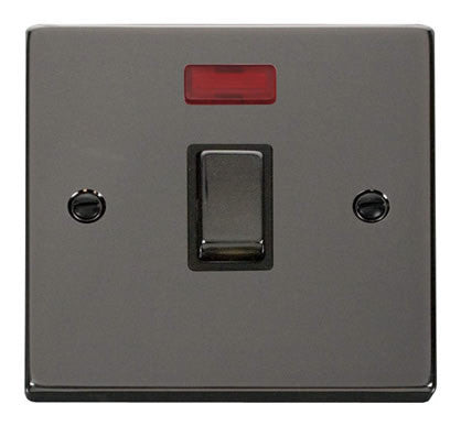 Black Nickel 1 Gang 20A Ingot DP Switch With Neon - Black Trim