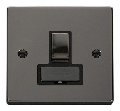 Black Nickel 13A Fused Ingot Connection Unit Switched - Black Trim