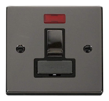 Black Nickel 13A Fused Ingot Connection Unit Switched With Neon - Black Trim