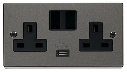 Black Nickel 2 Gang 13A 1 USB Twin Double Switched Plug Socket - Black Trim