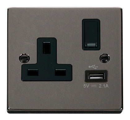 Black Nickel 1 Gang 13A DP 1 USB Switched Plug Socket - Black Trim