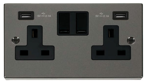 Black Nickel 2 Gang 13A 2 USB Twin Double Switched Plug Socket - Black Trim