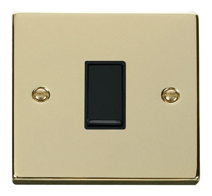 Polished Brass 10A 1 Gang 2 Way Light Switch - Black Trim