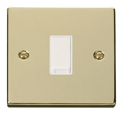 Polished Brass 10A 1 Gang 2 Way Light Switch - White Trim