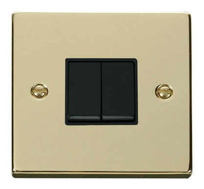 Polished Brass 10A 2 Gang 2 Way Light Switch - Black Trim