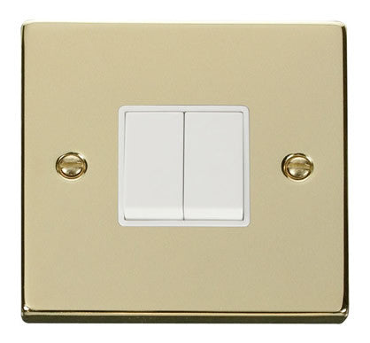 Polished Brass 10A 2 Gang 2 Way Light Switch - White Trim