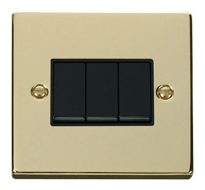 Polished Brass 10A 3 Gang 2 Way Light Switch - Black Trim