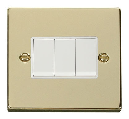 Polished Brass 10A 3 Gang 2 Way Light Switch - White Trim