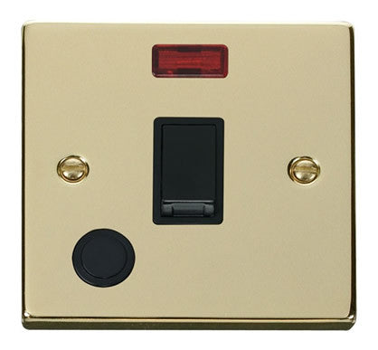 Polished Brass 1 Gang 20A DP Switch With Flex With Neon - Black Trim