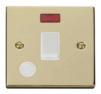 Polished Brass 1 Gang 20A DP Switch With Flex With Neon - White Trim