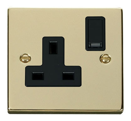 Polished Brass 1 Gang 13A DP Switched Plug Socket - Black Trim
