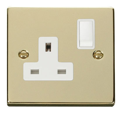 Polished Brass 1 Gang 13A DP Switched Plug Socket - White Trim