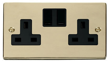 Polished Brass 2 Gang 13A Twin Double Switched Plug Socket - Black Trim