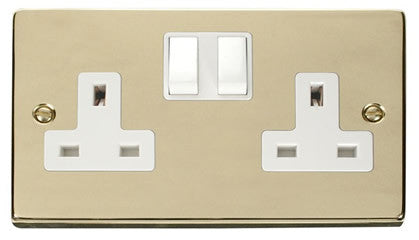 Polished Brass 2 Gang 13A Twin Double Switched Plug Socket - White Trim