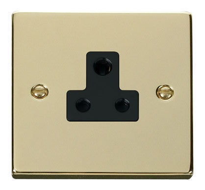Polished Brass 1 Gang 5A Round Pin Socket - Black Trim