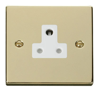 Polished Brass 1 Gang 5A Round Pin Socket - White Trim