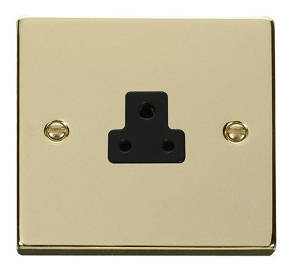 Polished Brass 1 Gang 2A Round Pin Socket - Black Trim