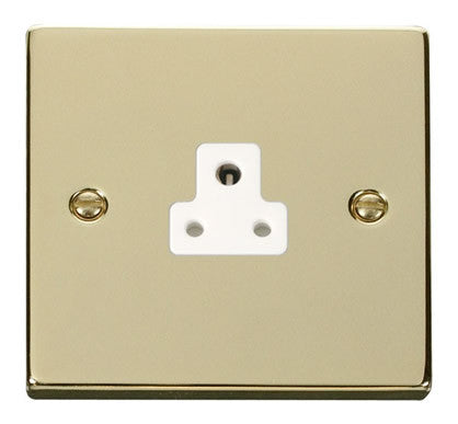 Polished Brass 1 Gang 2A Round Pin Socket - White Trim