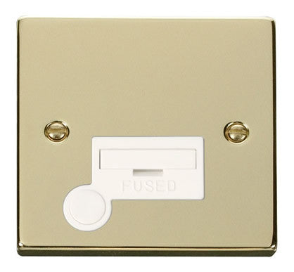 Polished Brass 13A Fused Connection Unit With Flex - White Trim
