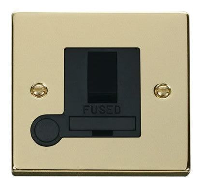 Polished Brass 13A Fused Connection Unit Switched With Flex - Black Trim