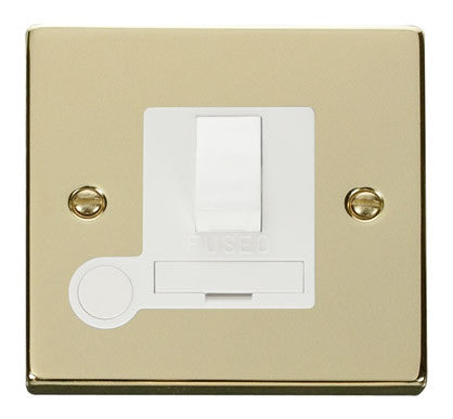 Polished Brass 13A Fused Connection Unit Switched With Flex - White Trim