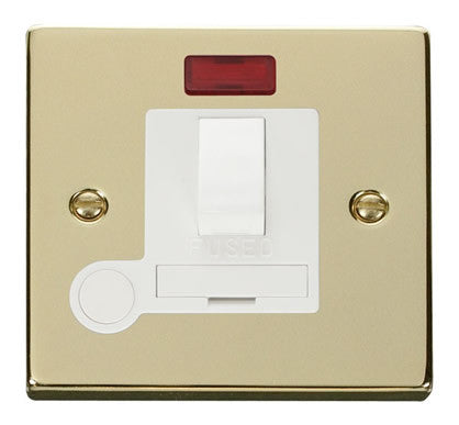 Polished Brass 13A Fused Connection Unit Switched With Neon With Flex - White Trim