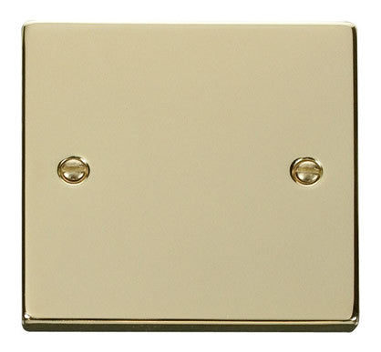 Polished Brass 1 Gang Blank Plate - White Trim