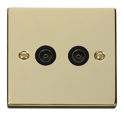 Polished Brass 2 Gang Twin Coaxial TV Socket - Black Trim