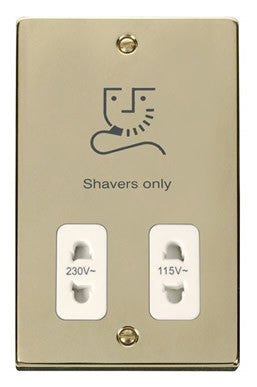 Polished Brass Dual Voltage Shaver 115v/230v - White Trim