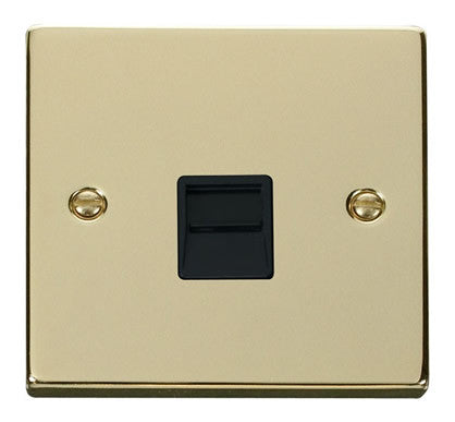Polished Brass Master Telephone Single Socket - Black Trim