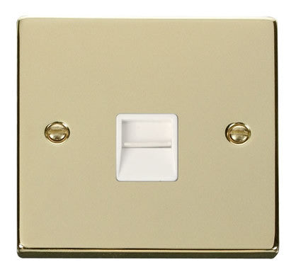 Polished Brass Secondary Telephone Single Socket - White Trim