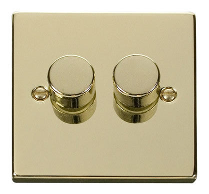 Polished Brass 2 Gang 2 Way 400w Dimmer Light Switch