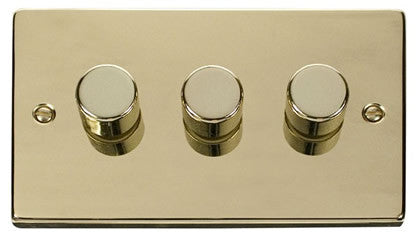 Polished Brass 3 Gang 2 Way 400w Dimmer Light Switch