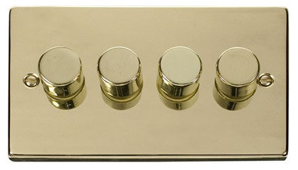 Polished Brass 4 Gang 2 Way 400w Dimmer Light Switch