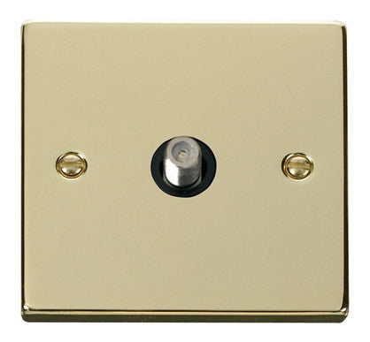 Polished Brass Satellite Socket 1 Gang - Black Trim