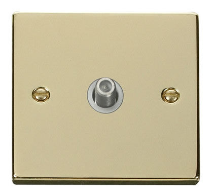 Polished Brass Satellite Socket 1 Gang - White Trim
