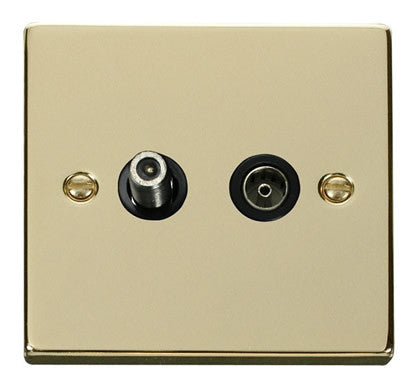 Polished Brass Satellite And Isolated Coaxial 1 Gang Socket - Black Trim