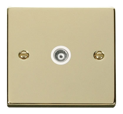 Polished Brass Single Isolated Coaxial Socket - White Trim