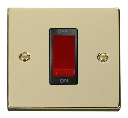 Polished Brass 1 Gang Size 45A Switch - Black Trim