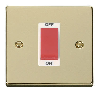 Polished Brass 1 Gang Size 45A Switch - White Trim