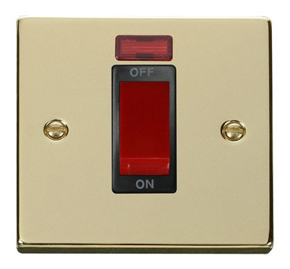 Polished Brass 1 Gang Size 45A Switch With Neon - Black Trim