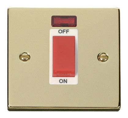 Polished Brass 1 Gang Size 45A Switch With Neon - White Trim