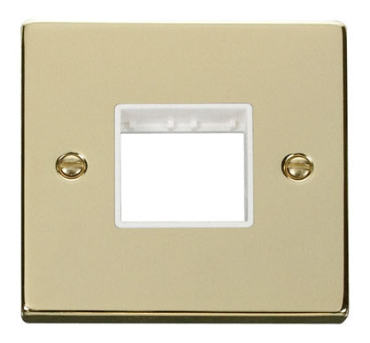 Polished Brass 1 Gang MiniGrid® Unfurnished Plate - 2 Apertures - White Trim